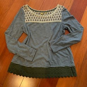 Anthropologie Floral and Lace Top